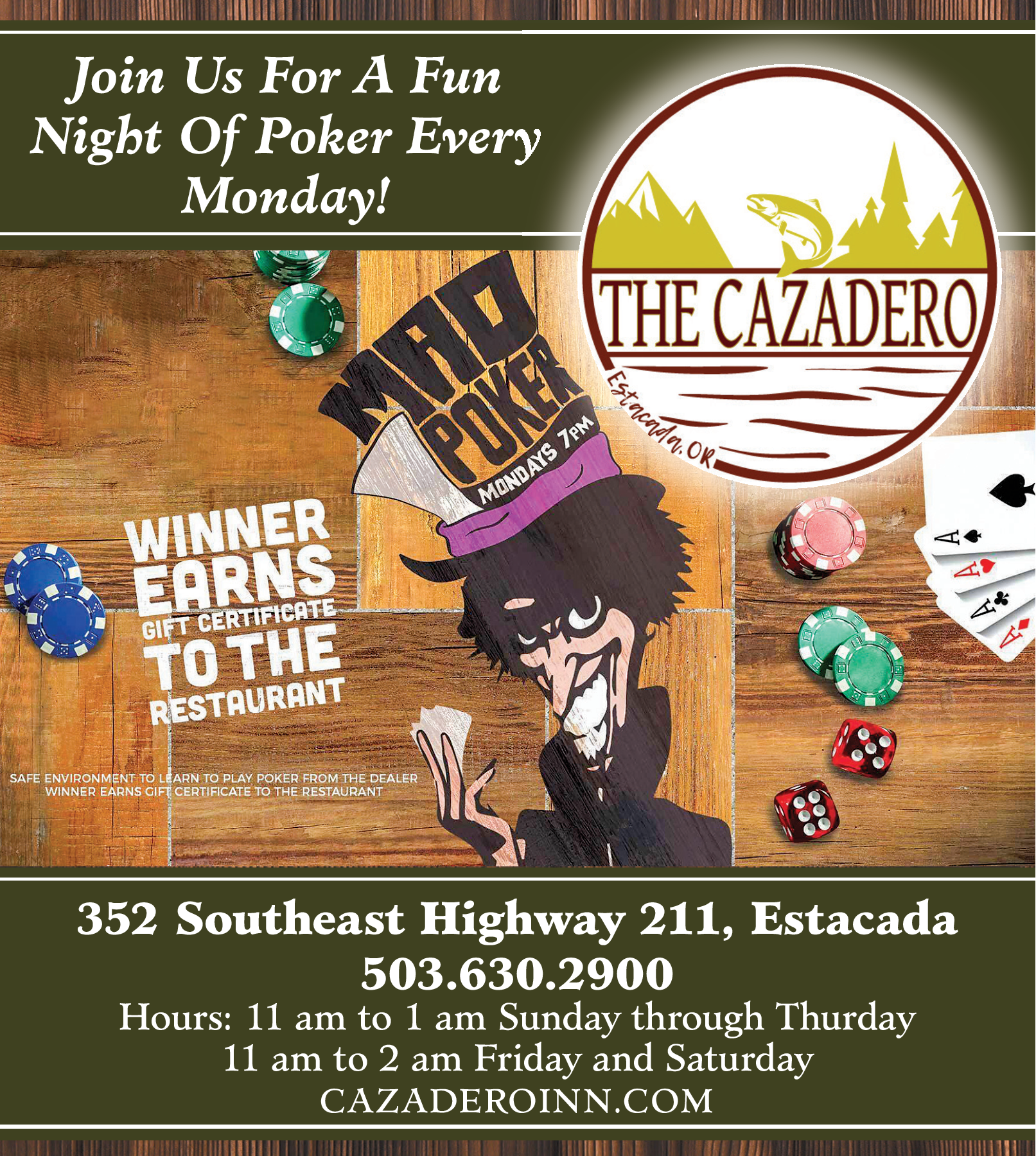 Join Us For A Fun Night Of Every Monday In Estacada Or Restaurants Cazadero Inn